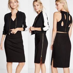 Express High Waisted Zip Side Black Pencil Skirt